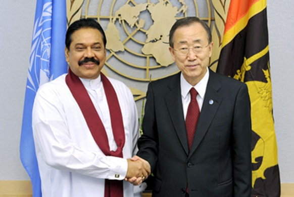 (c) UN Photo Mahinda Rajapaksa & Ban, reaction to Killing Fields and LLRC not seen