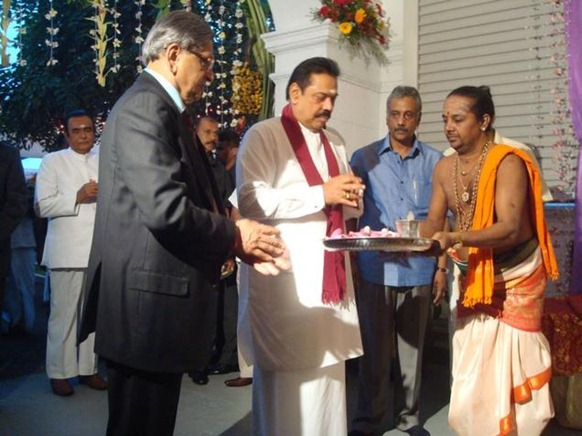The Hindu External Affairs Minister S.M.Krishna and Sri Lankan President Mahinda Rajapaksa offer prayers at Temple Trees, the official residence of the President, in Colombo on Monday. Photo: R.K. Radhakrishnan