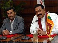President Rajapaksa with Iranian President Ahmadinejad