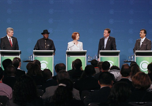 L-R) Canada's Prime Minister Stephen Harper, Nigeria's President Goodluck Jonathan, Australia's Prime Minister Julia Gillard, Britain's Prime Minister David Cameron and Pakistan's Prime Minister Yousaf Raza Gillani give a joint news conference at the Commonwealth Heads of Government Meeting (CHOGM) in Perth Saturday.
