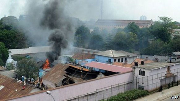 Prisoners set fire to a kitchen and an administrative building