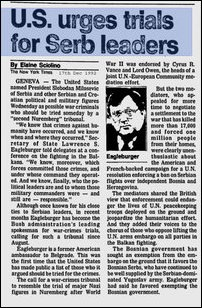 Acting U.S. Secretary of State Larry Eagleburger publicly condemns Karadzic