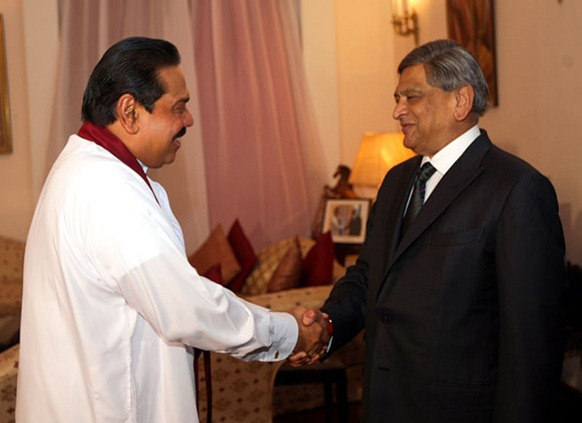 S.M Krishna, the Indian Minister of External Affairs - President Mahinda Rajapaksa