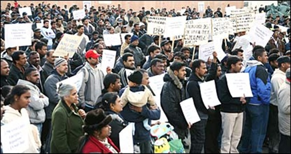 Srilankan asylum seekers protesting against deportations in 2009