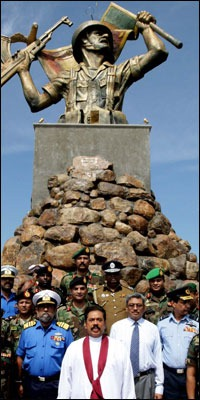 President paying tribute to the military for defeating the LTTE