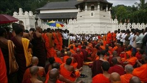 Theravada Buddhist monks play a prominent public role in Sri Lanka