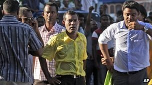 Mohamed Nasheed was at the centre or protests on Wednesday, a day after he resigned