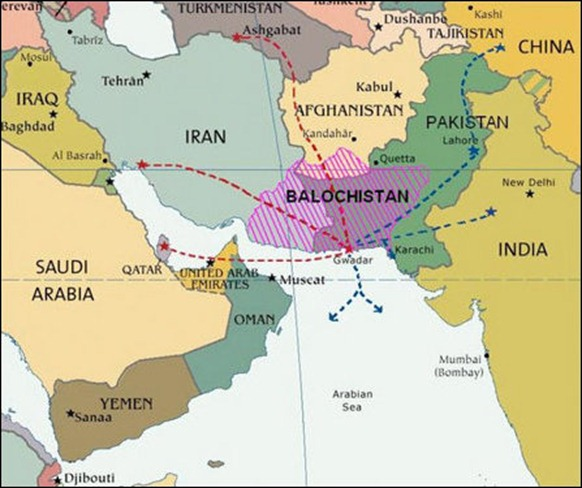 The map shows the demography of Baloch nation in the province of Balochistan now in Pakistan, as well as in Iran and Afghanistan. The map also shows the communication and pipeline potentialities of the country with China, Central Asia, West Asia and with the Arabian Sea. Instead of the route to China, shown in the map, China on its own now works on a shorter route through Quetta to Karakoram and then to China.