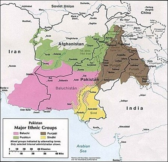 The four major ethnic groups of Pakistan in 1980 [Map courtesy: University of Texas at Austin, Wikimedia Commons]