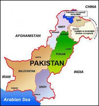 Provinces of Pakistan and the former principality of Kashmir now occupied between India and Pakistan.