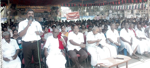 V. Thirumavalvan of the VCK addressing the gathering