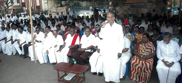 Pazha Nedumaran addressing the gathering organised by the CPI