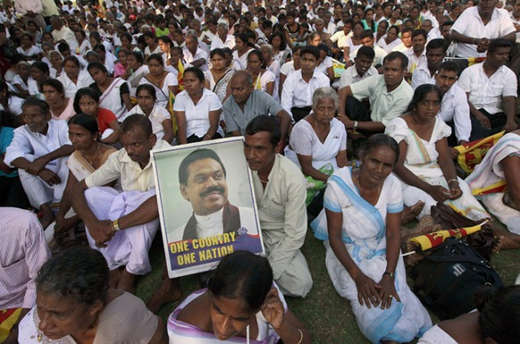 Sri Lankans gathered on Thursday to oppose a UN-proposed probe of abuses, saying it can be handled locally [Reuters]