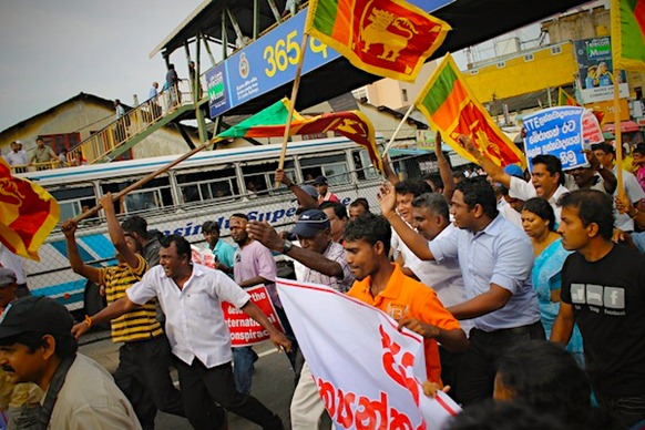 Photo courtesy Vikalpa, from protest against US resolution in Colombo, 27 February 2012