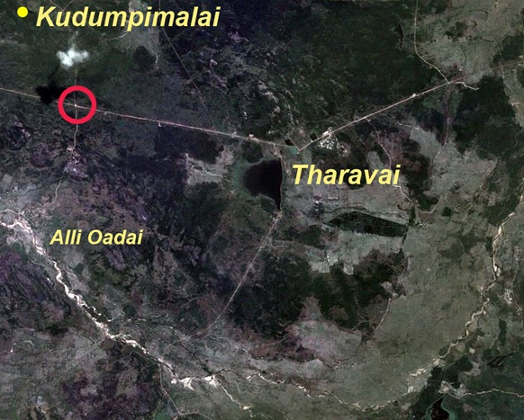 Shown within the red circle is the Alli Oadai junction where 5 acres of land has been appropriated to construct a Buddhist stupa. Local people are prohibited from going to that area and beyond it to Kudumpimalai