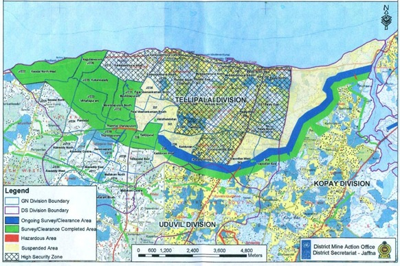 A map revealing the status of mine clearing within the High Security Zone obtained by TamilNet in December 2010