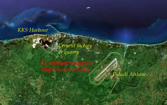 The Sri Lankan military occupied High Security Zone (HSZ) along the northern coast of Jaffna peninsula, that evicted a large number of Tamil civilians from their homes for two decades now [Satellite image courtesy: Google Earth]