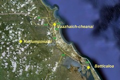 The location of Kudumpimalai (Barren's Cap) from Batticaloa and Vaazhaich-cheanai