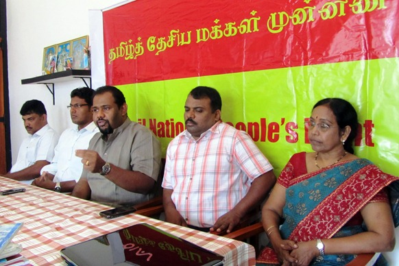 The TNPF press meet was held by Mr. Gajendrakumar Ponnampalam along with party officials S. Kajedren, Pathmini Sithamparanathan and Manivannan