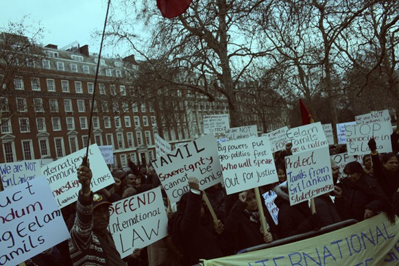 Eezham Tamils demonstrate outside US Embassy in London 2012