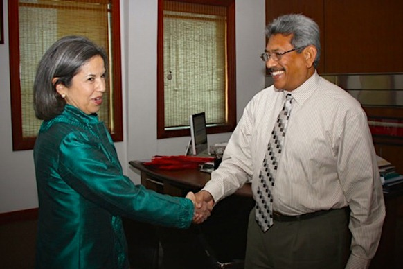 Maria Otero, US Under Secretary, Civilian Security, Democracy and Human Rights meets Gotabaya Rajapaksa, Secretary of Defence in February 2012. Photo courtesy Lanka Standard.