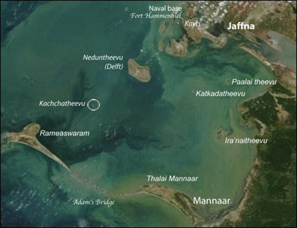 Satellite image showing the location of Kachchatheevu [Image courtesy: NASA, Visible Earth, Legend by TamilNet]
