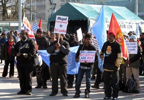 AP Sri Lankan Tamils protest outside the United Nations' European headquarters to demand an international investigation of alleged war crimes in Sri Lanka, in Geneva, Switzerland. File photo.