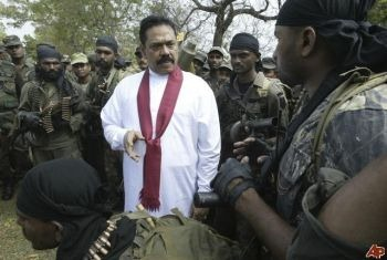 Sri Lanka President Majinda Rajapakse visits troops during the country's civil war in 2009