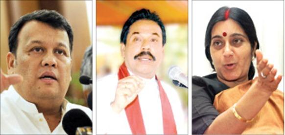 Mahinda Samarasinghe, Mahinda Rajapaksa and Sushma Swaraj