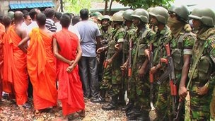 Buddhist monks were also involved in the protest