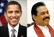 Barack Obama and Mahinda Rajapaksa