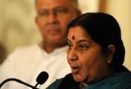 Indian Opposition Leader Sushma Swaraj speaks in Colombo (AFP, Ishara S.Kodikara)