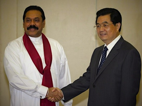 China's President Hu Jintao shakes hands with Sri Lanka's President Mahinda Rajapaksa in Sanya, Hainan province, April 10, 2008. Image by Reuters, courtesy Transcurrents.