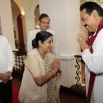 Sushma Swaraj greets President Rajapaksa