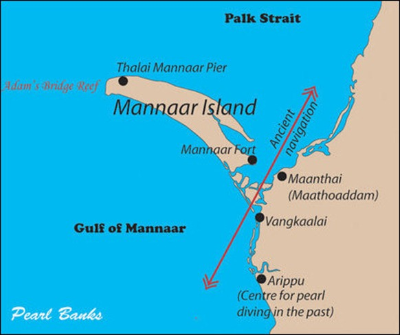 The location of Vangkaalai and Maanthai in the route of ancient navigation