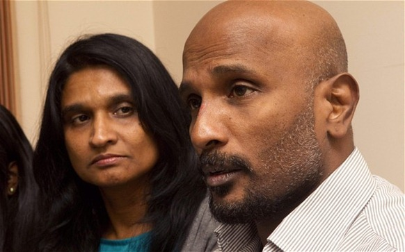 Premakumar Gunaratnam and his wife Champa Somartana  Photo: EPA