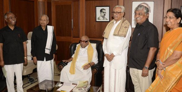 RESURRECTING A CAUSE: DMK president M. Karunanidhi with Dravida Kazhagam chief K. Veeramani, Dravida Tamil Peravai leader Suba Veerapandian and DMK leaders K. Anbazhagan and Subbulakshmi Jagadeesan in Chennai on Monday. Photo: K.V. SRINIVASAN