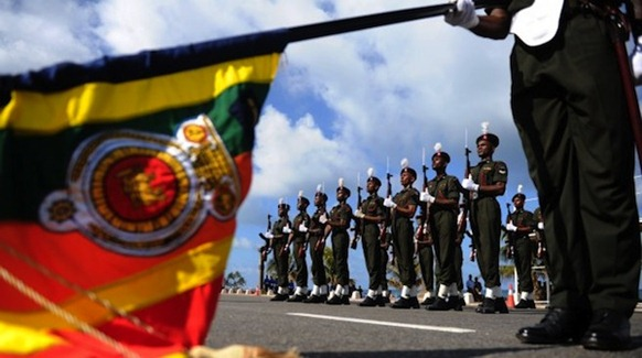 Sri Lankan Army soldiers march during a Victory Day parade rehearsal in Colombo on May 16, 2012. Sri Lanka celebrates War Heroes Week with a military parade scheduled for May 19. PHOTO/ AFP, text courtesy Haveeru Online