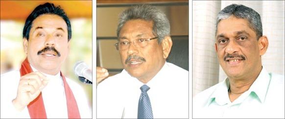 Mahinda Rajapaksa, Gotabaya Rajapaksa and Sarath Fonseka