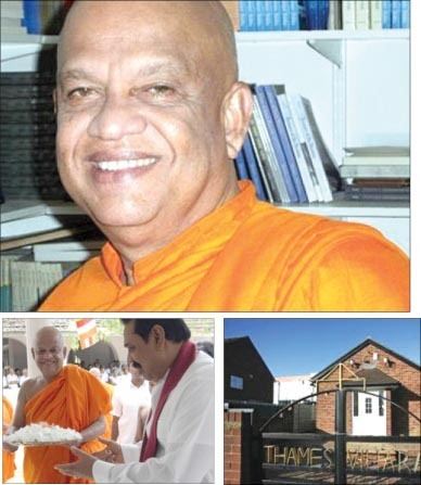 "The former ""Venerable"" Pahalegama Somaratana, The monk with Mahinda Rajapaksa and The Thames Buddhist Vihara"