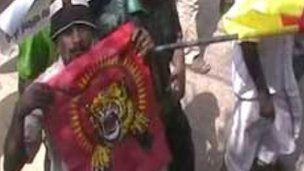 The display of flags associated with the rebels is strictly forbidden in Sri Lanka