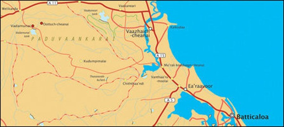 The locality of Oottuch-cheanai and Vadamunai in Paduvaankarai region