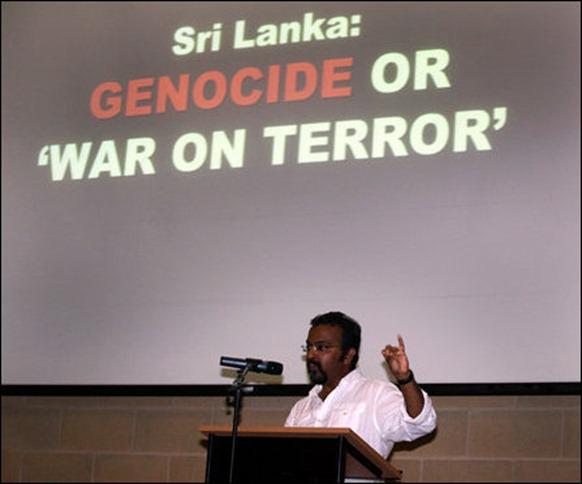 Exiled Sinhala journalist Rohita Bashana Abeywardene addressing the gathering