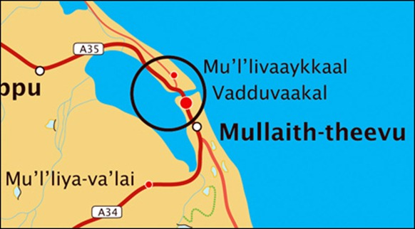 Vadduvaakal located at the entrance to the genocidal field of Mu'l'livaaykkaal [Map by TamilNet]