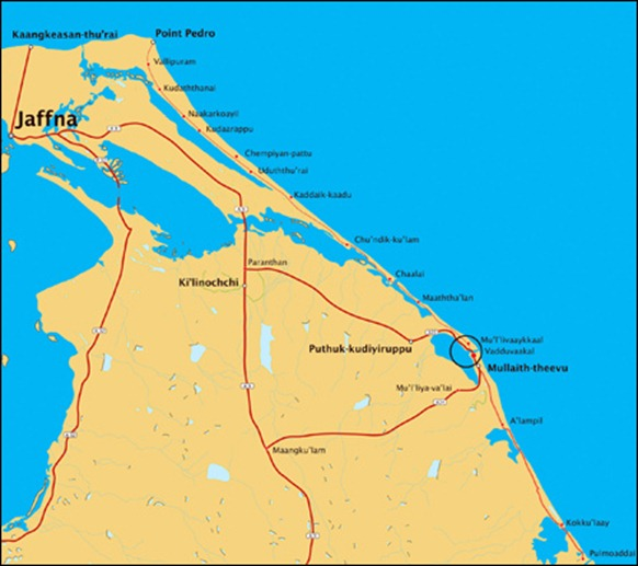 The  Chinese built road from Pulmoaddai to Mu'l'livaaykkaal which will be extended to Point Pedro. Click to enlarge. [Map by TamilNet]