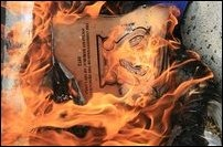 Sinhala-Buddhist Unitary Sri Lankan Constitution being burnt togehter with the effigy of Mahinda Rajapaksa