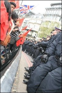 British police was deployed in large numbers to manage the situation
