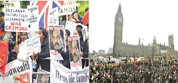 Thousands of Tamil Diaspora members were mobilsed to mar President Rajapaksa's visit to London.