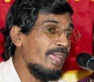 Tilvin Silva speaks at a press conference in Colombo (AFP/File, SENA VIDANAGAMA)