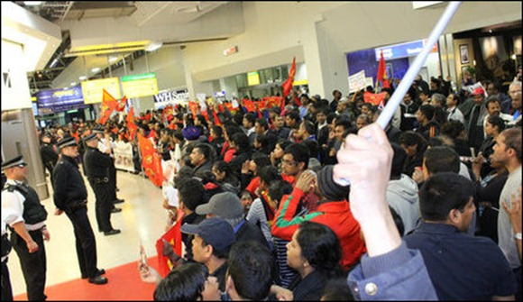 Eezham Tamil protesters thronged the Terminal 4 of the Heatrow airport Sunday evening